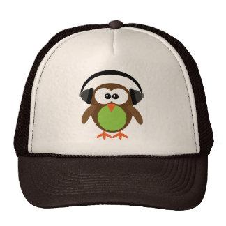 Cute Retro DJ Owl With Headphones Cap