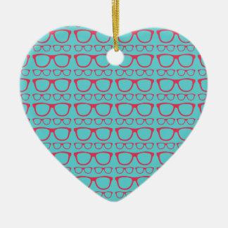 Cute Retro Eyeglass Hipster Ceramic Heart Decoration