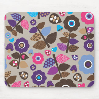 Cute retro flower pattern mouse pad