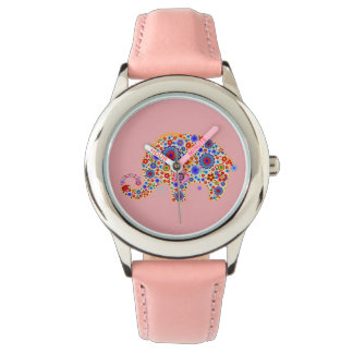 Cute Retro Flowers Cartoon Style Elephant 2 Watch