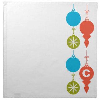 Cute Retro Fun Christmas Ornaments Blue Red Green Napkin