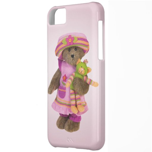 Cute Retro Girly Bear with Cuddly Toy iPhone 5C Cover