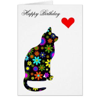 Cute Retro Girly Birthday Floral Cat Feline Heart Card