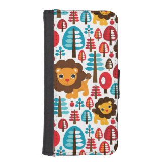 cute retro Lion kids illustration iPhone SE/5/5s Wallet Case