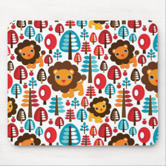 cute retro Lion kids illustration Mouse Mat