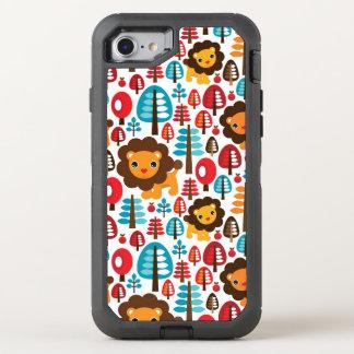 cute retro Lion kids illustration OtterBox Defender iPhone 8/7 Case