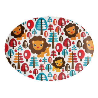 cute retro Lion kids illustration Porcelain Serving Platter