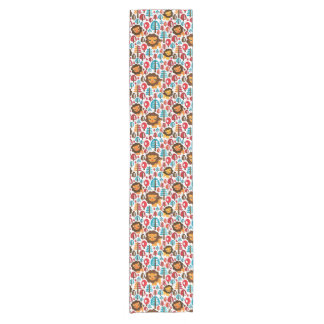 cute retro Lion kids illustration Short Table Runner