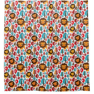 cute retro Lion kids illustration Shower Curtain