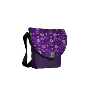 Cute retro look dark geometric floral pattern commuter bag
