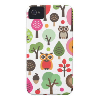 Cute retro owl and trees pattern iphone case