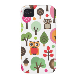 Cute retro owl and trees pattern iphone case iPhone 4 cover