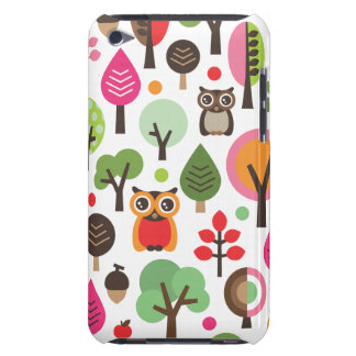 Cute retro owl and trees pattern ipod case iPod touch case
