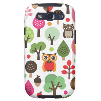 Cute retro owl and trees pattern samsung case galaxy s3 cases