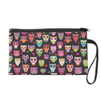 Cute retro owl bird pattern wristlet