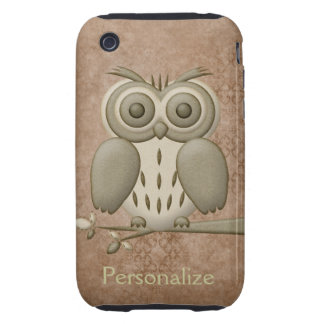 Cute Retro Owl on Branch iPhone 3/3GS iPhone 3 Tough Cases