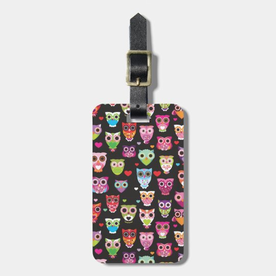 Cute retro owl pattern illustrated luggage case luggage