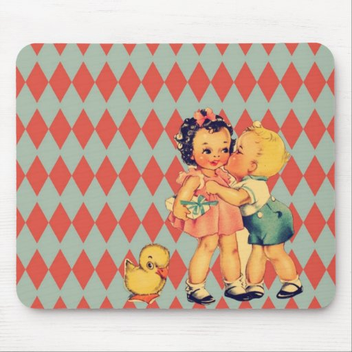 Cute retro pattern vintage kids mousepad