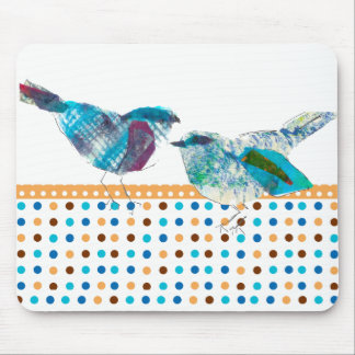 Cute Retro Polka Dot Blue Bird Modern Design Mouse Pad