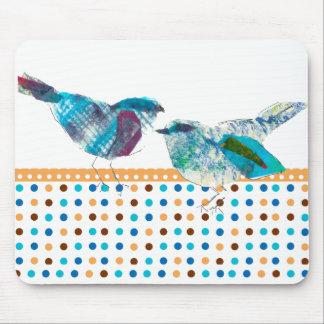 Cute Retro Polka Dot Blue Bird Modern Design Mousepad