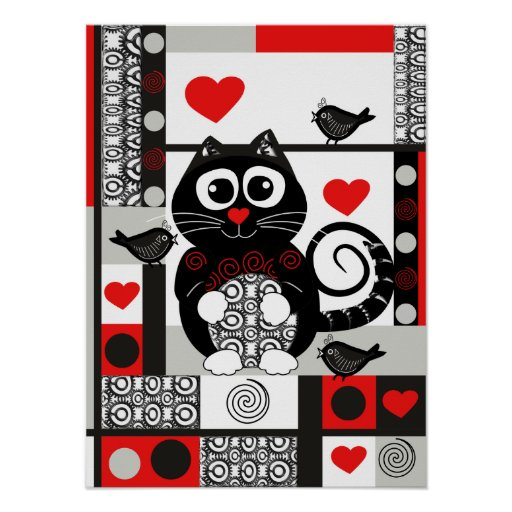Cute retro poster with cat, birds, hearts and