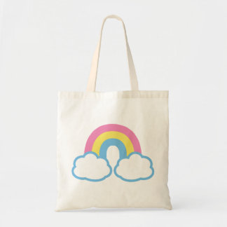 Cute Retro Rainbow Budget Tote Bag