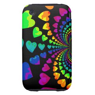 Cute retro rainbow hearts iPhone 3 tough cases