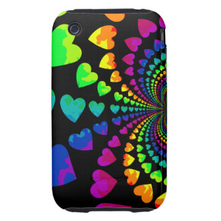 Cute retro rainbow hearts iPhone 3 tough cases