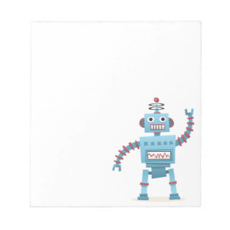 Cute retro robot android kids cartoon notepad