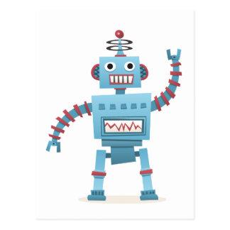 Cute retro robot android kids cartoon postcard