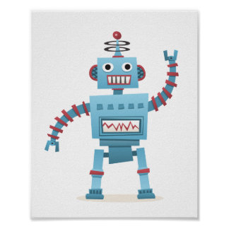 Cute retro robot android kids cartoon wall art poster