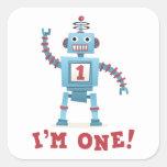 Cute retro robot cartoon I am one baby Square Stickers