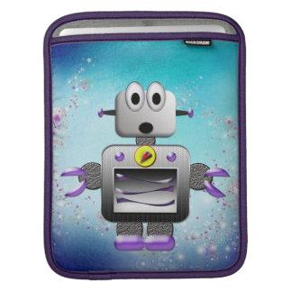 Cute Retro Robot Purple & Blue iPad Sleeve