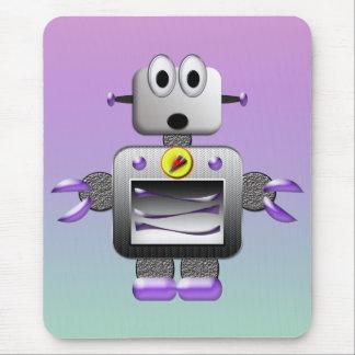 Cute Retro Robot Purple & Blue Mousepad