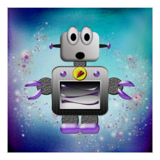 Cute Retro Robot Purple & Blue Poster