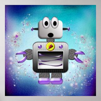 Cute Retro Robot Purple & Blue Poster
