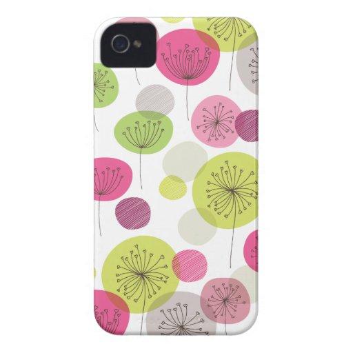 Cute retro tree flower pattern design Case-Mate iPhone 4 cases