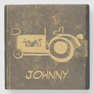 Cute Retro Vintage Artwork Tractor Stone Coaster
