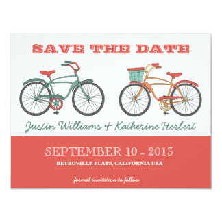 Cute Retro Vintage Bicycles Save the Date 11 Cm X 14 Cm Invitation Card