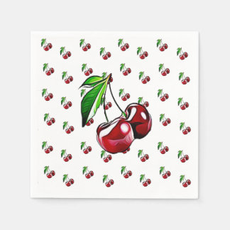 Cute Retro Vintage Cherries Napkin Disposable Serviette