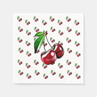 Cute Retro Vintage Cherries Napkin Paper Napkin