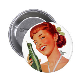 Cute Retro Young Woman with Pop Bottle 6 Cm Round Badge