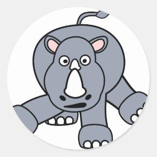 Cute Rhino Design Classic Round Sticker