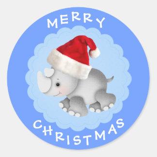 Cute Rhino in Santa Hat Blue Christmas Stickers