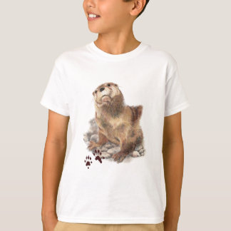 Cute River Otter, Animal Tracks, Wildlife T-Shirt