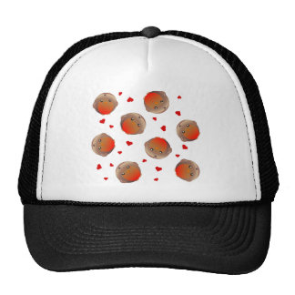 Cute Robin and Red Hearts Design Mesh Hats