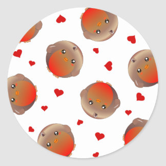 Cute Robin and Red Hearts Design Round Sticker