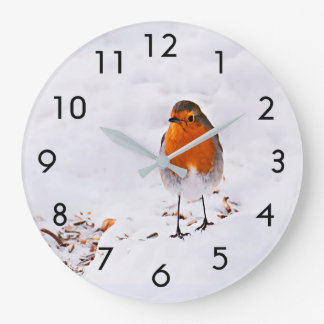 Cute Robin bird in snow Large Clock