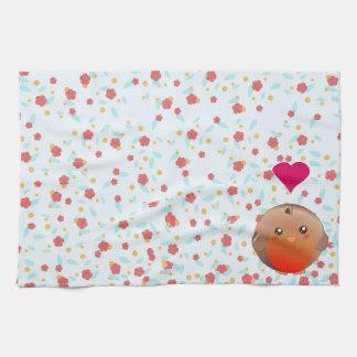 Cute Robin Bird Tea Towel