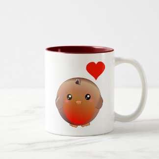Cute Robin Bird Two-Tone Coffee Mug